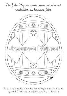 Coloriage à imprimer : Oeuf de Pâques à découper - Joyeuses Pâques