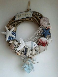 Sea Crafts, Seashell Crafts, Diy And Crafts, Arts And Crafts, Wreath Crafts, Diy Wreath, Coastal Quilts, Deco Marine, Nautical Wreath
