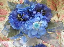 Periwinkle Blue Ranuculus Wristlet Corsage and Boutonniere # 117
