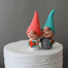gnome cake toppers | Gnome Cake Toppers - 2 Gnomes - Custom Colors - Coral and Aqua