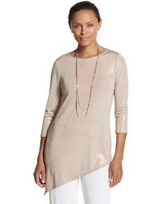Chico's Travelers Classic Liquid Shimmer Seamed Sierra Top #chicos