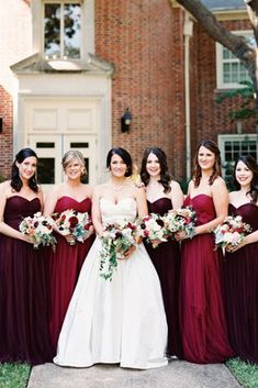 18 Burgundy Bridesmaid Dresses For Your Girls ❤ burgundy bridesmaid dresses sweetheart mismatched jenny yoo ❤ Full gallery: https://weddingdressesguide.com/burgundy-bridesmaid-dresses/ #bride #wedding #bridesmaiddress