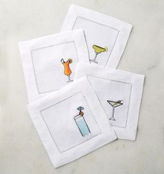 Bevande cocktail napkins by Sferra are embroidered with colorful and whimsical designs on pure white hemstitched linen in a classic square size. Linen Napkins, Cloth Napkins, Embroidery Patterns, Hand Embroidery, Machine Embroidery, Embroidered Pillowcases, Cocktail Napkins, Cocktails, Drinks