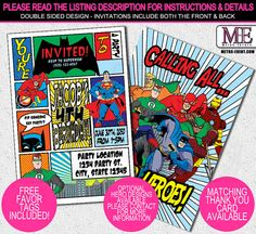 Super Hero Birthday Invitations - Your choice of digital invitation file(s) or Printed invitations. METRO-EVENTS OFFICE HOURS ARE MON-FRI 9am-5pmCST