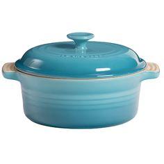 Le Creuset Stoneware Casserole & Lid, 2 qt Round Caribbean Blue