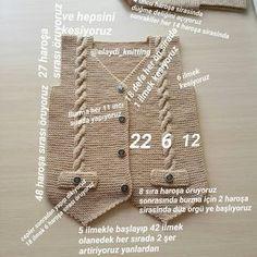 Günaydınlarr mutlu günler canlarr.. bu yeleğin birde büyünü yaptim..yapmayı düşünen arkadaşlara şimdiden kolay gelsinbir hatam i düzeltmek istiyorum yeleğin ön tarafında 12 ilmek yazdığım 14 ilmek olcakti kusura bakmayın. . 3 / 3.5 yaş 2 yumak kartopu baby one 3.5 numara şişle ördum 6 tane düğme . . #handmade #knitwear #erkekbebek #elemegi #elemeği #bebiş #annebebek #renk #sew #yelek #10marifet #bebekörgüleri...
