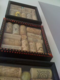 Wine cork shadow boxes! Save the corks from anniversaries, your wedding, honeymoon, or any special occasion!