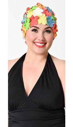 Retro 1950s Style Multi Color Floral Swim Cap
