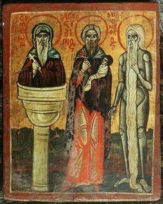 File:Onuphrius, Stylianos and Simeon Stylites. Church Interior, Orthodox Christianity, Orthodox Icons, Christian Art, Religious Art, Byzantine, Renaissance, Folk Art, Saints