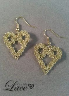 Gold bobbin lace earrings