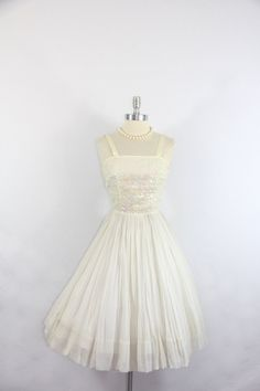 1950's Vintage Wedding Dress  Sequin and by VintageFrocksOfFancy, $160.00