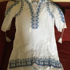 Spell and gypsy embroidered tunic Blue and white gorgeous dress Spell & The Gypsy Collective Dresses Mini