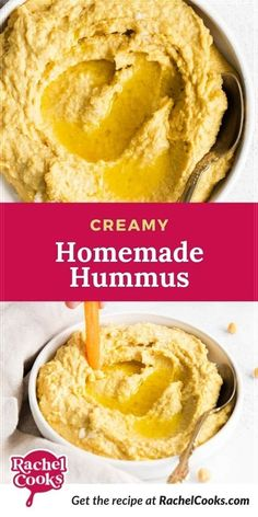 Looking for an easy, healthy snack recipe? You'll love this homemade hummus! It's creamy, delicious and quick to make! We love hummus because not only is it delicious, it's good for you too. Hummus dip is packed with vitamins and minerals. This recipe is also tahini-free. For really smooth hummus, you'll need a food processor. You can whip this hummus recipe up in just five minutes. Five minutes! You're just a few minutes away from a tasty appetizer! Hummus Dip, Hummus Recipe, Dip Recipes, Snack Recipes, Cooking Recipes, Homemade French Onion Dip, Tzatziki Recipes, Homemade Hummus, Hummus