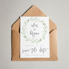 A super cute wedding save the date with greenery illustrations.