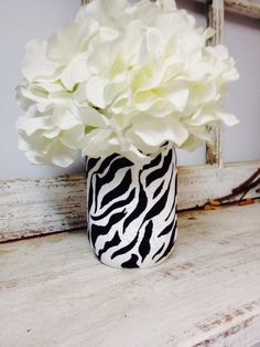 Zebra Print Mason Jars. Perfect for Gifts, Home Decorations, and Weddings.