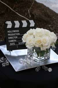 Image Search Results for 50th birthday Hollywood theme CUBES WITH ROSES SITTING ON FOIL SQUARES AND MOVIE SIGN