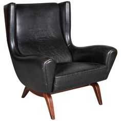 Leather Wingback Chair by Illum Wikkelso