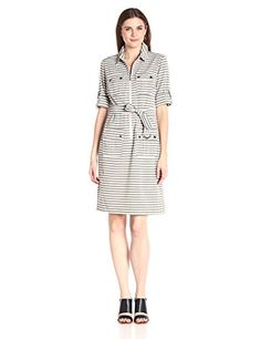 Sharagano Womens Stripe Shirt Dress BlackIvy 12 *** You can find more details by visiting the image link.