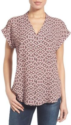 Silky v-neck blouse in pink and earth tone pattern
