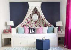 Glam Big Girl Room featuring a floral canopy and an IKEA daybed - Project Junior