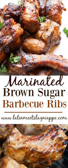 Marinated Brown Sugar Barbecue Ribs - such a delicious way to enjoy ribs! Barbecue Ribs, Barbecue Recipes, Grilling Recipes, Cooking Recipes, Smoker Recipes, Grilling Ribs, Paleo Chicken Wings, Chicken Wing Recipes, Crispy Chicken