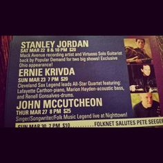 Saw an AMAZING show last night which was #StanleyJordan . Now tonight, my Mentor and Music Director Lafayette Carthon will be playing with the Ernie Krivda Quartet. Magic is bout to happen! Class is in session!!  #ErnieKrivda #LafayetteCarthon #Nighttown #Cleveland #Jazz #Musicianship #Saxophone #Piano #Bass #Drums