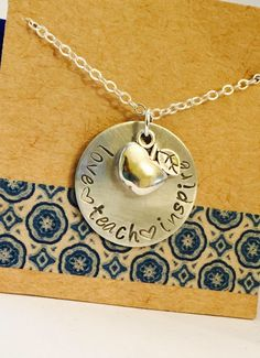 Teacher Necklace Hand Stamped Aluminum Teacher Appreciation End of the Year Gift Etsy Jewelry, Jewelry Accessories, Jewelry Design, Unique Jewelry, Handmade Shop, Etsy Handmade, Handmade Items, Presents For Teachers, Etsy Business