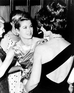 Princess Grace of Monaco  greeting soprano Maria Callas (back to camera) during a television festival in Monaco. 1962   by skorver1