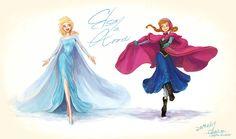DeviantArt: More Like Frozen Elsa and Anna fan art by Angju Anna Frozen, Frozen Fan Art, Disney Frozen, Disney Fan Art, Disney Love, Disney Magic, Disney Stuff, Disney Artwork, Images Disney