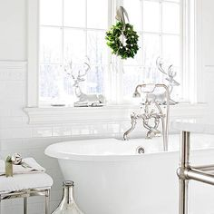 Give your bathroom a modern look for the holidays by matching the metallics of your plumbing: http://www.bhg.com/christmas/indoor-decorating/christmas-decorations-for-every-room/?socsrc=bhgpin120614coordinatewithmetals&page=10