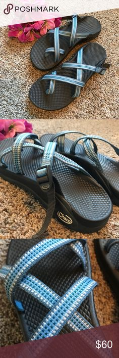 Chacos Sandals 💙 Like new Chaco slip on sandals. No heel strap, pretty light blue strap color. I have tried to wear these a couple of time, however I just don't like the way they fit me. They still need to be broken in, in excellent condition. Chaco Shoes Sandals