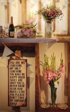 A craft-filled vintage wedding day | Real Weddings | Plan Your Perfect Wedding #wedding #flowers #reception #cute #sign