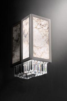 Wall lamp in Carrara marble slabs, rectangular and crystal pendants Marble Slabs, Carrara Marble, Murano Glass, Applique Art Deco, Classic Lighting, Wall Lights, Ceiling Lights, Crystal Pendant, Sconces
