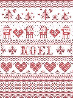 Seamless Noel Scandinavian fabric style, inspired by Norwegian Christmas, festive winter pattern in Cross Stitch Stocking, Cross Stitch Heart, Cross Stitch Borders, Cross Stitch Alphabet, Cross Stitching, Cross Stitch Patterns, Knitted Christmas Stockings, Christmas Knitting, Christmas Cross