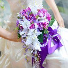 Gave Handleddet Blomst Silke Simulering Blomst Drapeformet Lilje Hortensia Brudebuketter Holder Blomster Bryllup Blomster