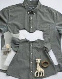 This is my most liked picture. It's a dress for my daughter made from her dad's preloved shirt ♻️ Shirts often gets torn around the collar… Old Shirts, Dad To Be Shirts, Baby Shirts, Shirts For Girls, Baby Outfits, Little Girl Dresses, Girls Dresses, Trendy Outfits, Sewing Shirts
