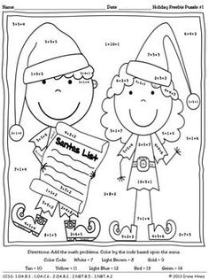 Christmas Math FREEBIE Bright Ideas This Holiday Season Color By The Code