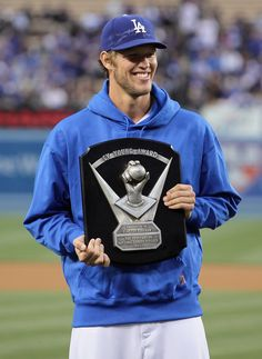 Clayton Kershaw #22 of the Los Angeles Dodgers get his cy young award