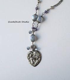 Antique Silver Heart Pendant Mermaid Necklace Long Necklace