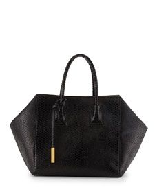 Cavendish Boston Faux-Python Tote Bag, Black --   It until handbag 603 of 1060 to find a vegan designer bag... thank you Stella McCartney... I love the shape too...