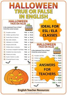 Halloween True or False Quiz by Woodward Education Halloween Crossword Puzzles, Halloween Worksheets, Halloween Games, Halloween Activities, Classroom Activities, Halloween Kids, Halloween Wreaths, English Worksheets For Kids, English Activities