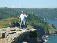 Husband trying to give me a scare at Valley of the Rocks! He managed!!