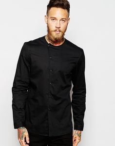 Image 1 of ASOS Collarless Shirt With Asymmetrical Placket