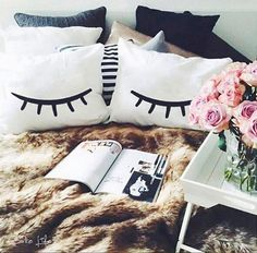 EYELASHES lashes pillow cases for your bedroom by CakeLife® white bed sleeping lashes bedroom ideas cozy room