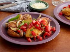 Parmesan Crusted Chicken Breasts with Tomato and Basil and Potatoes with Peppers and Onions Recipe : Rachael Ray : Food Network Onion Recipes, Top Recipes, Chicken Recipes, Dinner Recipes, Cooking Recipes, Easy Recipes, Chicken Meals, Cheesy Chicken, Sausage Recipes