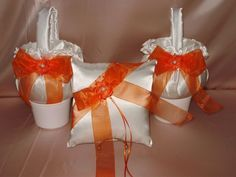 1  RING PILLOW  & 2  FLOWER GIRL BASKETS YOUR CHOICE OF SATIN COLORS & BOWS #Unbranded