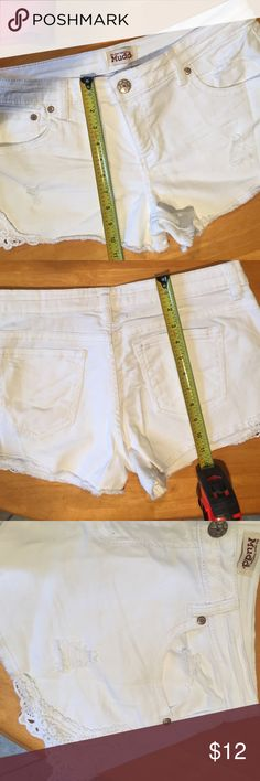 Mudd , white denim shorts Mudd white denim shorts with lace on the sides Mudd Shorts Jean Shorts