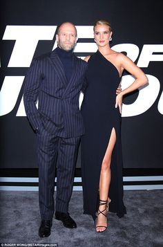 Shining stars: The duo radiated Hollywood glamour at Saturday's premiere of the eighth fil. Jason Statham Rosie Huntington, Jason Statham And Rosie, Nyc Hotels, Strapless Dress Formal, Formal Dresses, Rosie Huntington Whiteley, All Black Outfit, Hollywood Glamour, Shirt Style