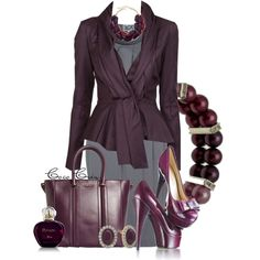 """""""Aubergine Office Attire"""" by mscococris on Polyvore"""