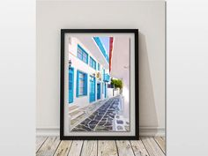 Art for Sale, Mykonos Streets Print, Digital Download, Mediterranean Decor, Greek Islands Prints, Turquoise Wall Art, Greece Travel Photo, Fine Art Print